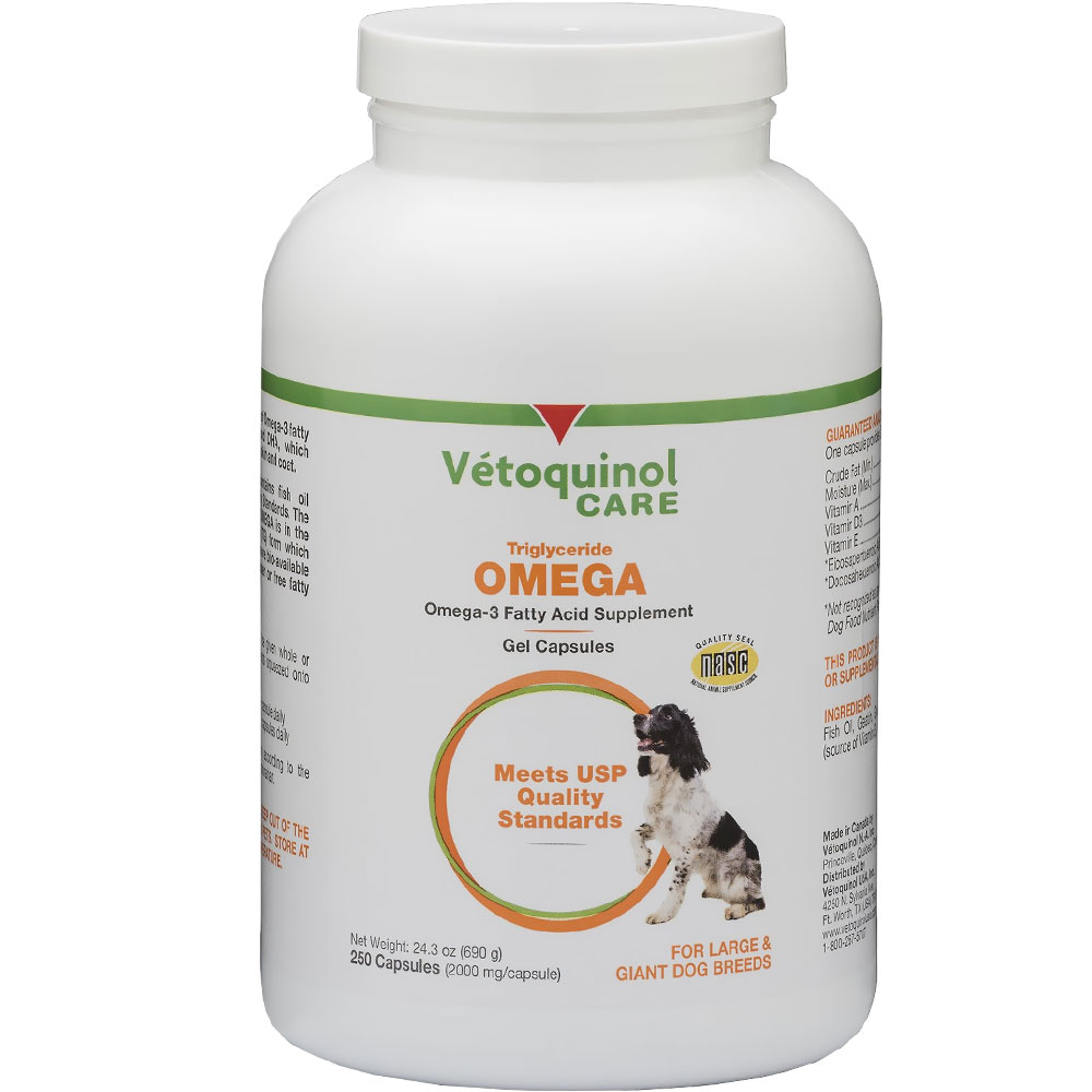 Vetoquinol care triglyceride omega supplement for large for Triglyceride fish oil
