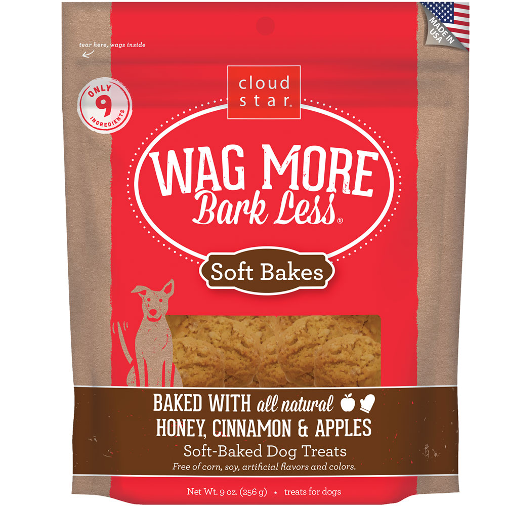 Wag More Bark Less Soft-Baked Dog Treats - Honey, Cinnamon & Apples (9 oz)