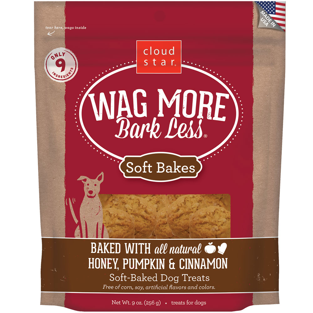 Wag More Bark Less Soft-Baked Dog Treats - Honey, Pumpkin & Cinnamon (9 oz)