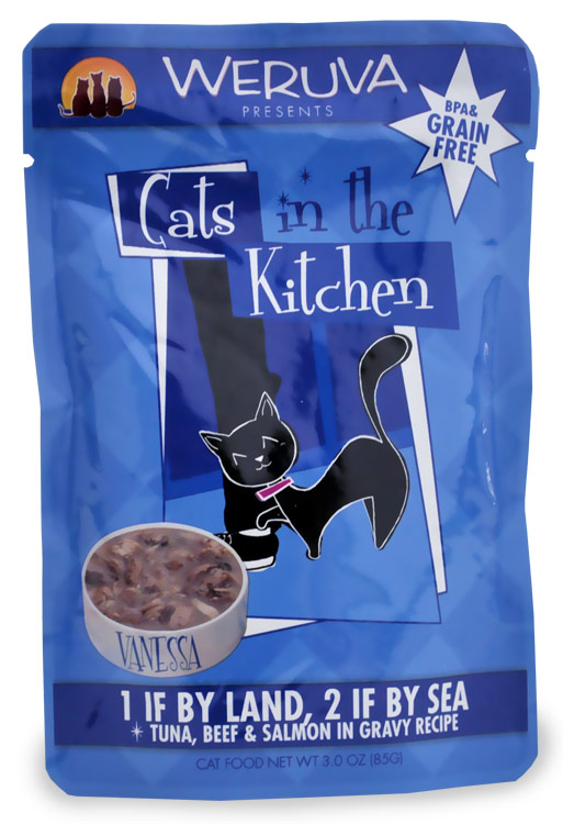 Weruva Cats in the Kitchen Pouch-1 If By Land 2 If By Sea (3 oz)