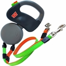 Wigzi Dual Retractable Leash Gray with Orange/Green Leads - Up to 50 lbs