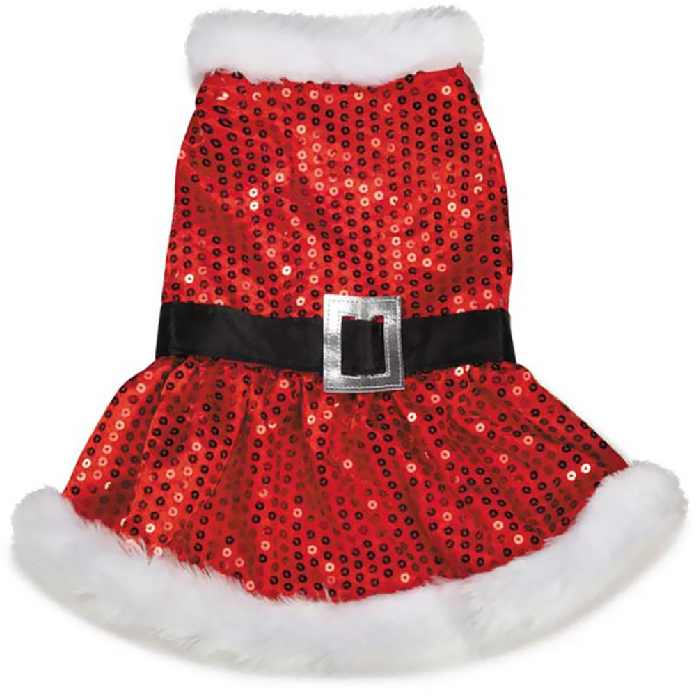 Zack & Zoey Mrs Claus Sequin Dress Red - SMALL