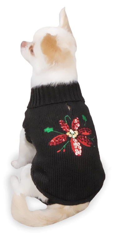 "Zack & Zoey Poinsettia Sweaters Black - XS (10"")"