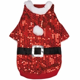 Zack & Zoey Santa Claus Sequin Hoodie Red - LARGE