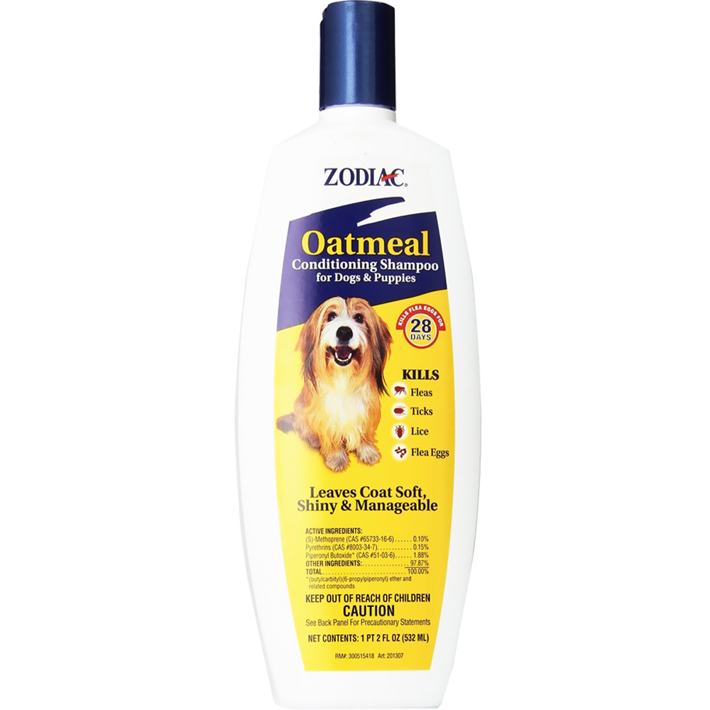 Zodiac Flea & Tick Oatmeal Conditioning Shampoo for Dogs & Puppies (18 fl oz)
