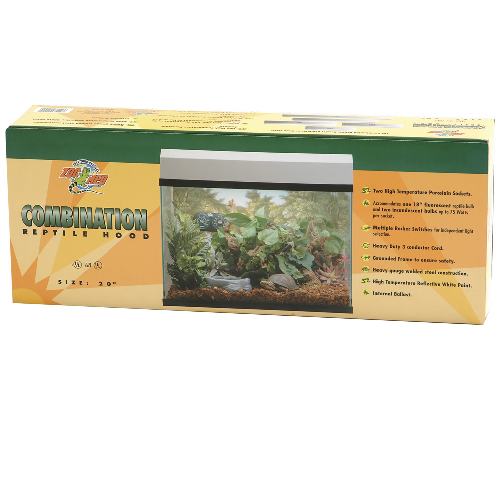 """Zoo Med Combination Reptile Hood 12""""x20"""" (2 Incandescent/18"""" Fluorescent) - White"""