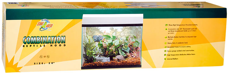 """Zoo Med Combination Reptile Hood 12""""x30"""" (3 Incandescent/24"""" Fluorescent) - White"""