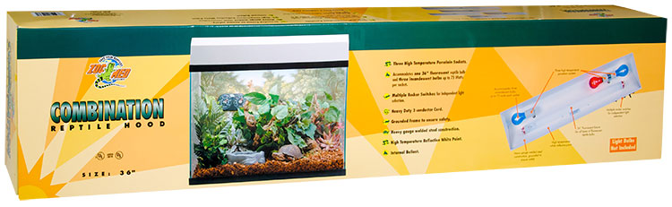 """Zoo Med Combination Reptile Hood 12""""x36"""" (3 Incandescent/36"""" Fluorescent) - White"""