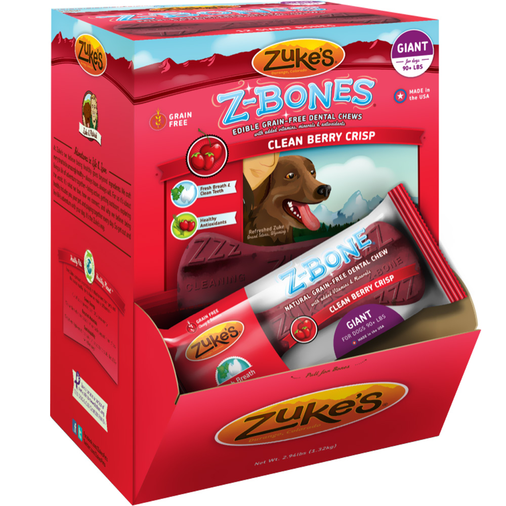 Zukes Z-Bones Edible Dental Chews Giant Clean Cherry Berry - 12 ct (3.93 lbs)