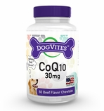 DogVites 30mg Chewable CoQ10 For Dogs (60 Beef Flavor Chewtabs)