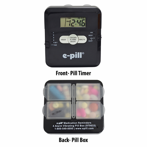 e-pill | 4 Alarm Vibrating POCKET | <br> Pill Box -<B> Black</B>