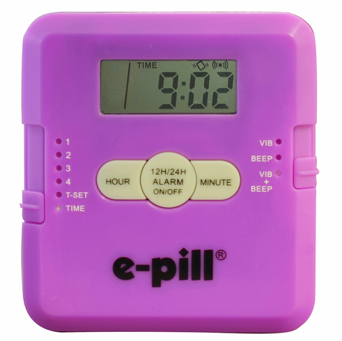 e-pill 4 Alarm Vibrating POCKET Pill Box<br><B> Purple</B>