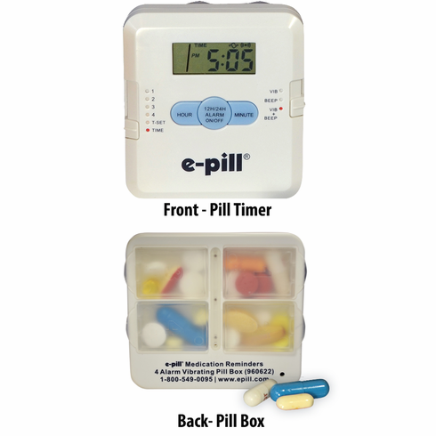 e-pill 4 Alarm Vibrating Pocket Pill Box<br><B>White</B>