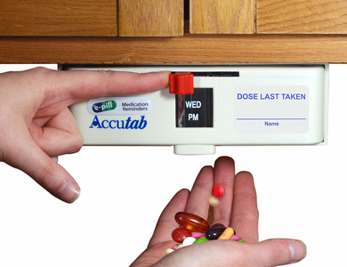 Apple Watch compatible e-pill Dispenser: Accutab Personal Pillbox