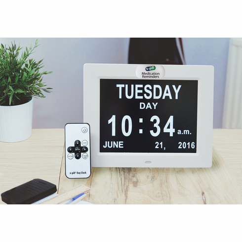 e-pill Calendar Day Clock - <br>up to 6 Daily Alarms