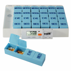 e-pill MedGlider HOME Weekly Pillbox<br> with 4 Alarm Timer