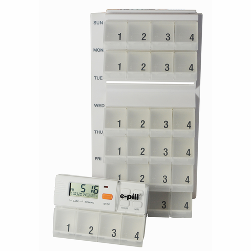 e-pill MedGlider Weekly Pillbox Set<br>with 4 Alarm Timer