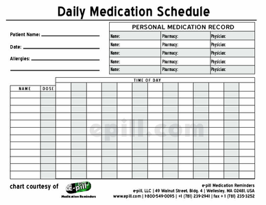 Dashing image inside printable medication charts
