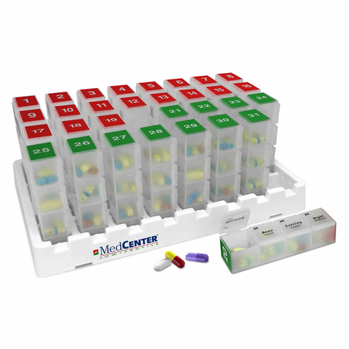 Monthly Pill Organizer<br>31 Day x 4 Compartments per Day