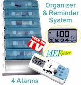 Pillbox Timer 4 Daily Alarms WEEKLY Pillbox System (MedGlider 7)