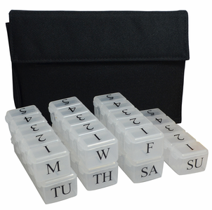 Press release: 5 Dose Pill Box in Stylish Unisex Clutch Bag for Parkinson's patients