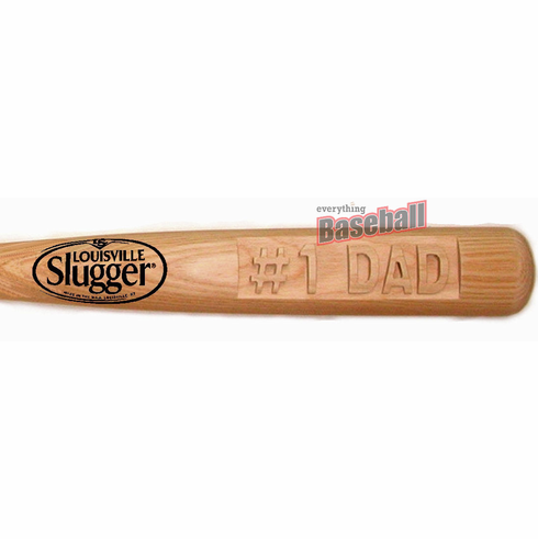 "#1 DAD Deep-Carved Louisville Slugger 34"" Baseball Bat with Free Bat Holders"