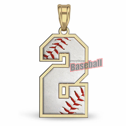 1-Digit Baseball Number Pendant<br>GOLD or SILVER