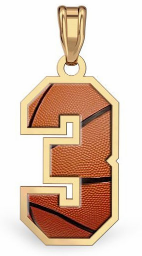 1-Digit Basketball Number Pendant<br>GOLD or SILVER
