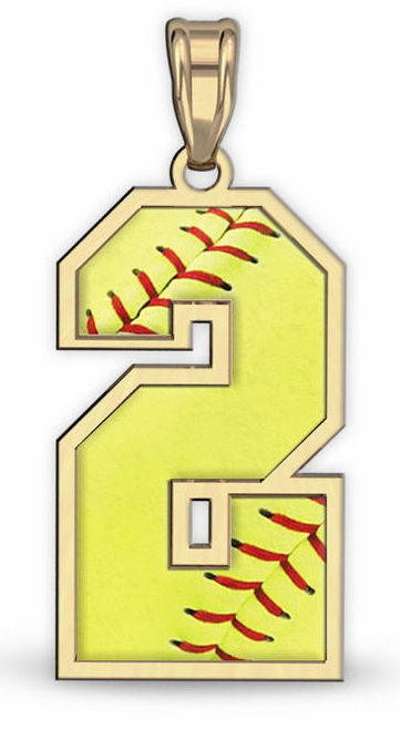 1-Digit Softball Number Pendant<br>GOLD or SILVER