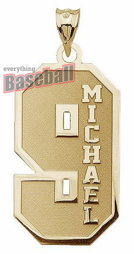 1-Digit Sports Number and Name Pendant<br>GOLD or SILVER