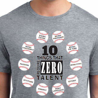 10 Things That Require Zero Talent Baseball T-Shirt<br>Choose Your Color<br>Youth Med to Adult 4X