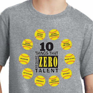 10 Things That Require Zero Talent Softball T-Shirt<br>Choose Your Color<br>Youth Med to Adult 4X