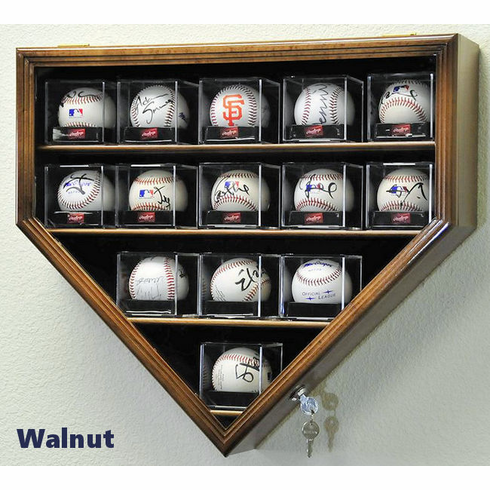 14 Baseball Arcylic Cubes Home Plate Display Case Cabinet Holder Wall Rack w/ UV Protection<br>4 WOOD COLORS!