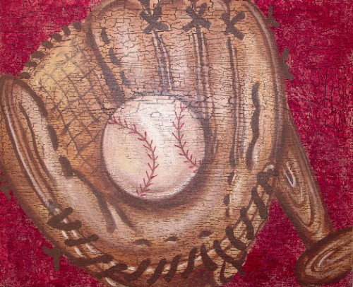 16x20 Crackle Baseball Canvas Art