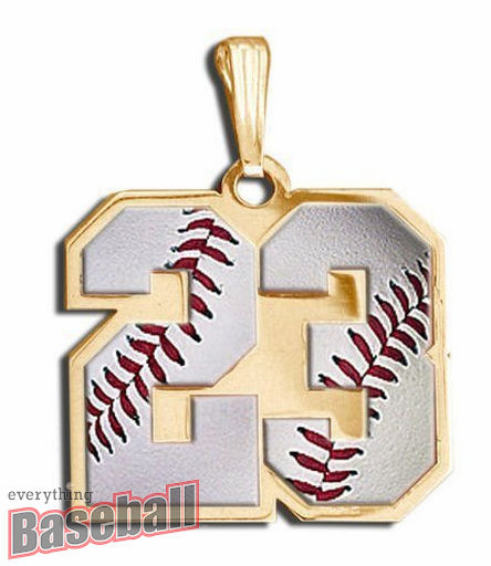 2-Digit Baseball Number Pendant<br>GOLD or SILVER