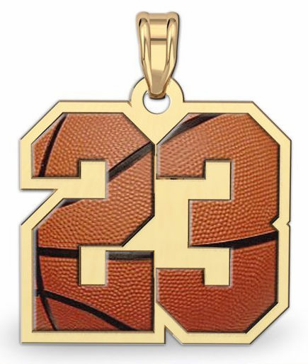 2-Digit Basketball Number Pendant<br>GOLD or SILVER