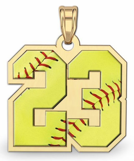 2-Digit Softball Number Pendant<br>GOLD or SILVER