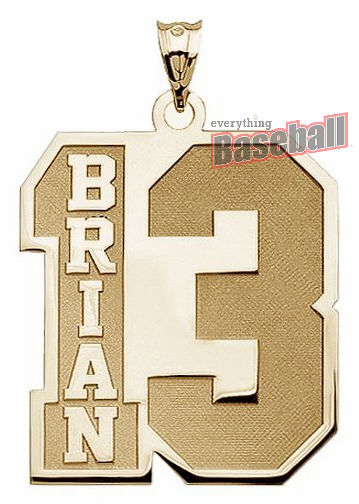 2-Digit Sports Number and Name Pendant<br>GOLD or SILVER<br>NOT GUARANTEED FOR CHRISTMAS DELIVERY