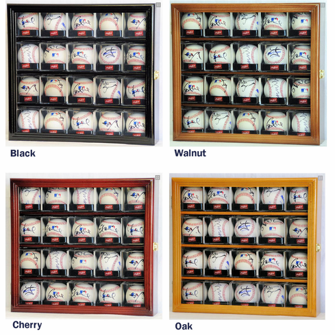20 Baseball Arcylic Cubes Display Case Cabinet Holder Wall Rack w/ UV Protection<br>4 WOOD COLORS!