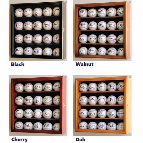 20 Baseball Display Case Cabinet Holder Wall Rack w/ UV Protection<br>4 WOOD COLORS!