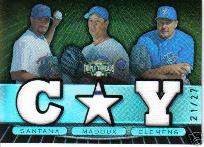 2007 Triple Threads Santana Maddux Clemens Game Used Jerseys 21/27