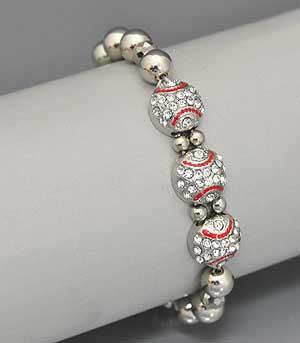 3 Crystal Baseballs Stretch Bracelet