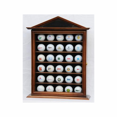30 Golf Ball Display Case Cabinet Holder Wall Rack w/ UV Protection<br>4 WOOD COLORS!