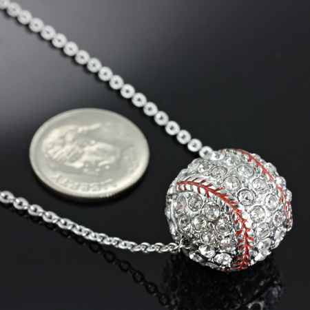 "3D Crystal Baseball 17"" Necklace"