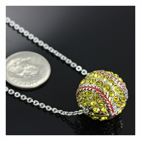 "3D Crystal Softball 17"" Necklace"