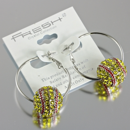 3D Crystal Softball Hoop Earrings