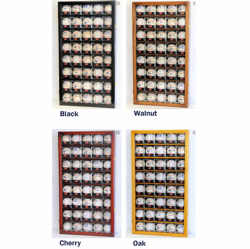 40 Baseball Arcylic Cubes Display Case Cabinet Holder Wall Rack w/ UV Protection<br>4 WOOD COLORS!