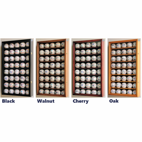 40 Baseball Display Case Cabinet Holders Rack w/ UV Protection<br>4 WOOD COLORS!