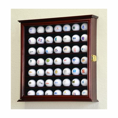 49 Golf Ball Display Case Cabinet Holder Wall Rack w/ UV Protection<br>4 WOOD COLORS!