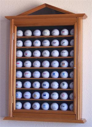 56 Golf Ball Display Case Cabinet Holder Wall Rack w/ UV Protection<br>OAK FINISH!